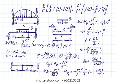 Vector background with physics formulas and equations on notebook page. School  notation. Educational and scientific vintage background.
