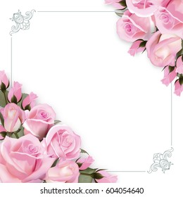 Vector background with pink roses flowers and green leaves.