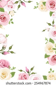Vector background with pink and white roses, lisianthus flowers and green leaves.