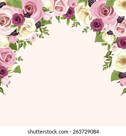 Purple flower border images stock photos vectors shutterstock vector background with pink and white roses and lisianthus flowers blackberries and green leaves isolated mightylinksfo