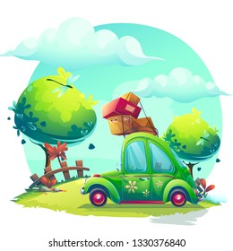 Vector background Pin-up style with green car. For web, video games, user interface, design.
