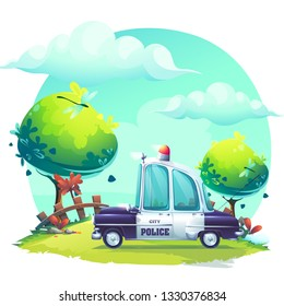 Vector background Pin-up style with police car. For web, video games, user interface, design.