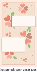 A vector background with place for text and red hearts for instagram story. A illustration 9:16 format illustration for for wedding, anniversary, valentines day