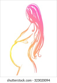 Vector Background with the pregnant woman