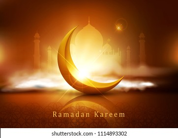 """vector background for Ramadan holiday with clouds, mosque, crescent and an inscription""""Ramadan Kareem"""".A template for a banner, postcards."""
