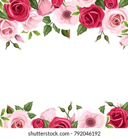Vector background with red and pink roses and lisianthus flowers and green leaves.
