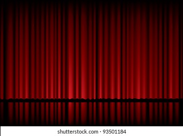 vector background with red velvet curtain