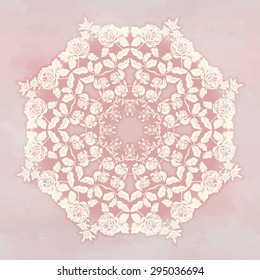 Vector background. Round silhouette of a bouquet victorian garden roses on watercolor backdrop. Hand drawing in vintage style.