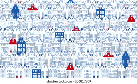 Vector background with rows of old Dutch (Holland, Amsterdam) traditional houses in blue, red and white