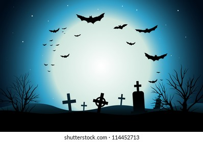 Vector background of a scary cemetery at night.