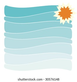 vector background with sea and sun