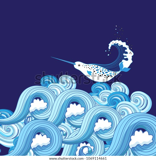 Vector background of sea waves and a whale on a dark background