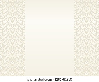 Vector background with seamless floral ornament in cream and pale yellow colors, great for greetings, invitations, announcements, posters, banners for wedding, anniversary, birthday, valentine, easter