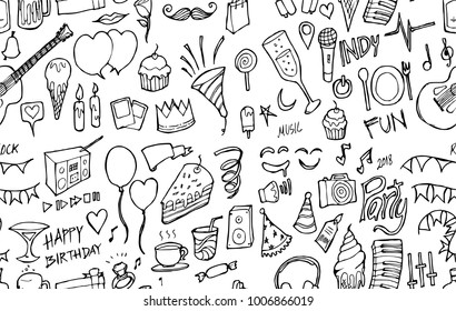 Vector Background Seamless pattern with hand drawn Party doodle