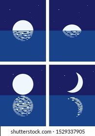 vector background set of sea, full moon and half moon phases at night. illustration of light reflection of moonlight in wavy ocean water and stars in dark sky. beautiful nature landscape with moon