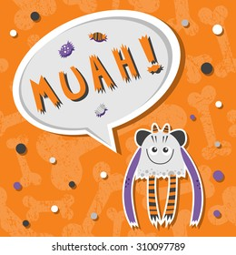 Vector background with shabby bones seamless pattern. Scary cute and lovely halloween monster hungry for sweets with toothy smile. Speech bubble with slang MUAH!Good for invitations and holiday stuff.