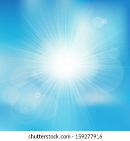 Vector background with shiny sun over a blue sky, with bokeh effect, lens flare and blurs