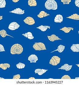 Vector background of silhouettes of  seashells