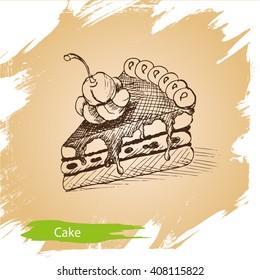 Vector background, sketch cake. Illustration of bakery.