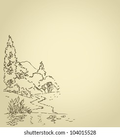 Vector background with sketch of the summer landscape with a forest path to a quiet lake with water lilies