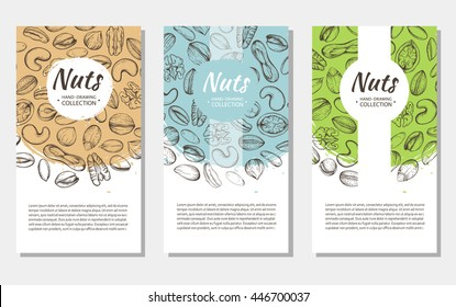Vector background with sketches of plants of various nuts. The pattern with space for text. Flyer, booklet advertising and design. Line silhouettes of cashew, hazelnut, walnut, pistachio, pecan.