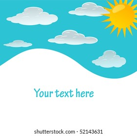 vector background with sky, sun and clouds.