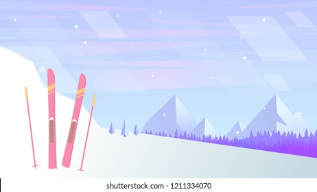 Vector background with snow, skiis, forest and mountains, made in soft violet colors.