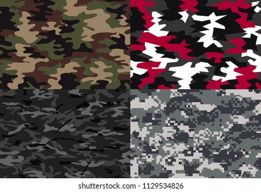 vector background of soldier camo camouflage  in 4 style