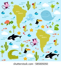 Vector background South America with cartoon animals. Whale, killer whale, monkey, crocodile, tortoise, toucan, parrot