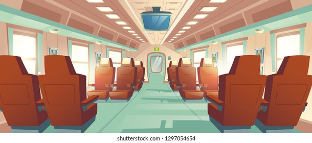 Vector background of spacious cabin in bullet train, seats with brown leather and TV. Bright salon with an aisle in modern express, empty business places. Armchairs in railway carriage for journey.