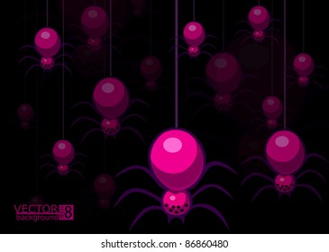 A vector background with spiders. In format eps 8.