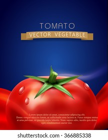 vector background with splashes, waves of red juice and tomato. isolated on blue background