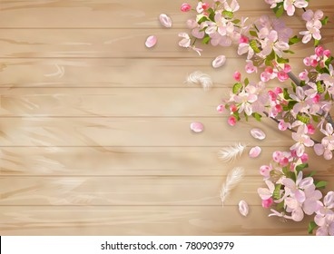 Vector background with spring cherry blossom flowers on a wooden background