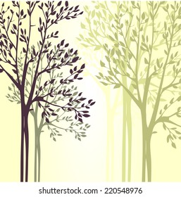 Vector background with spring trees, hand drawn nature illustration