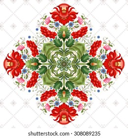 Vector background. Square floral ukrainian pattern with flower in the style of Petrykivka painting. Background with ornament similar to embroidery.