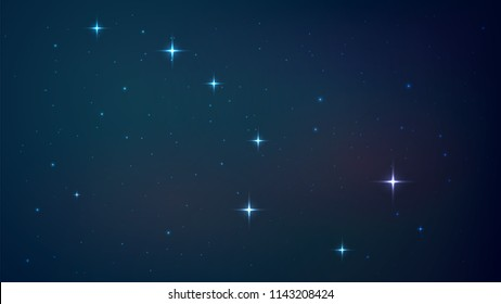 Vector background with a starry night sky, constellation of a big bear