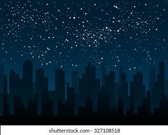 Vector background. Starry night sky. Stars, sky, night. Silhouette of the city.