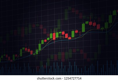 Vector background with stock market candlesticks chart. Forex trading creative design. Candlestick graph illustration for trade analytics