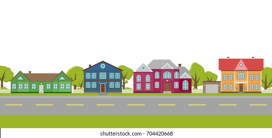 vector background with street and houses