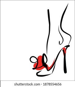 VECTOR Background with a stylish  original hand-drawn sketch graphics with beautiful shoes for fashion design logo