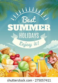 Vector background with summer food elements