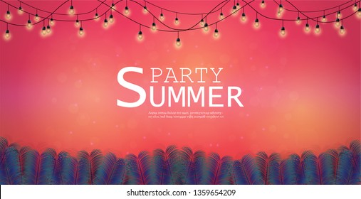 Vector Background and Summer Nights Party Flyer Design. And music festivals and celebrations and parties. and Can be used as an illustration or as a backdrop