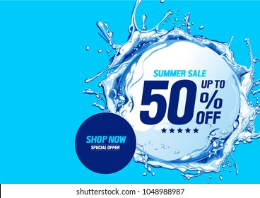 Vector background. Summer sale with water waves circle. You can place relevant content in the area.