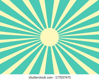 Vector background sun rays with blue and yellow retro color
