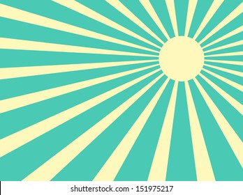 Vector background sun rays with white and green retro color