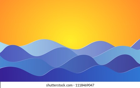 Vector background with sun and sea waves