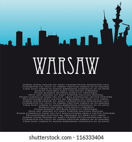 Vector background with symbols of Warsaw and panorama