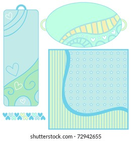 Vector background, tags and trim with hearts