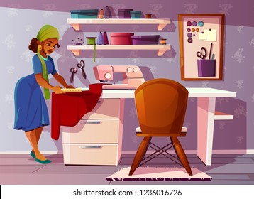 Vector background of tailor room with Aframerican woman. Studio with pretty seamstress, sewing machine and furniture. Dressmaker at work in handicraft area. Designer of clothes. Fashion, craft concept