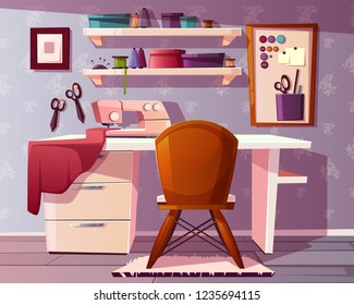 Vector background of tailor room, handicraft or needlework area. Studio of a seamstress with a sewing machine, tools and furniture. Dressmaker place, designer of clothes. Fashion, craft concept.